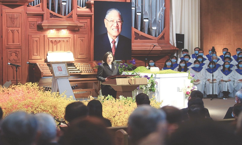 Taiwan President Tsai Ing-wen attends a memorial service for late Taiwan president Lee Teng-hui at a chapel of Aletheia University in New Taipei City on Saturday. — Reuters