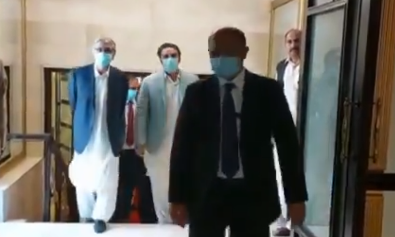 PPP Chairperson Bilawal Bhutto Zardari arrives for the PPP-hosted conference is Islamabad on Sunday. — Screengrab