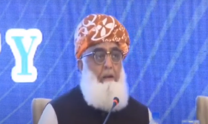 JUI-F chief Fazlur Rehman speaks to participants of multi-party conference. — DawnNewsTV