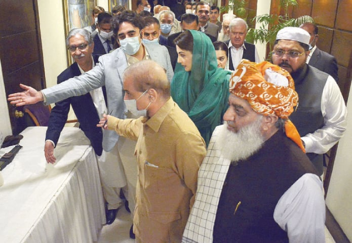 ISLAMABAD: Pakistan Peoples Party chief Bilawal Bhutto-Zardari welcomes PML-N president Shahbaz Sharif, vice president Maryam Nawaz, JUI-F chief Maulana Fazlur Rehman and leaders of other parties.—Online