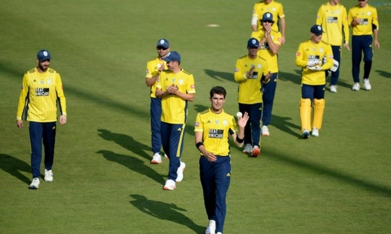 Shaheen Shah Afridi's six-wicket haul ensured a victory for Hampshire over Middlesex in the Vatality Blast match played in Southampton. — Photo courtesy PCB Twitter