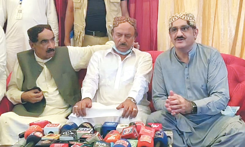 CM Syed Murad Ali Shah speaks to the media in Ghotki on Monday. — PPI