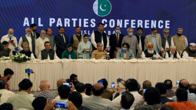 Key opposition figures address a presser after the multiparty conference on Sept 20. — Reuters