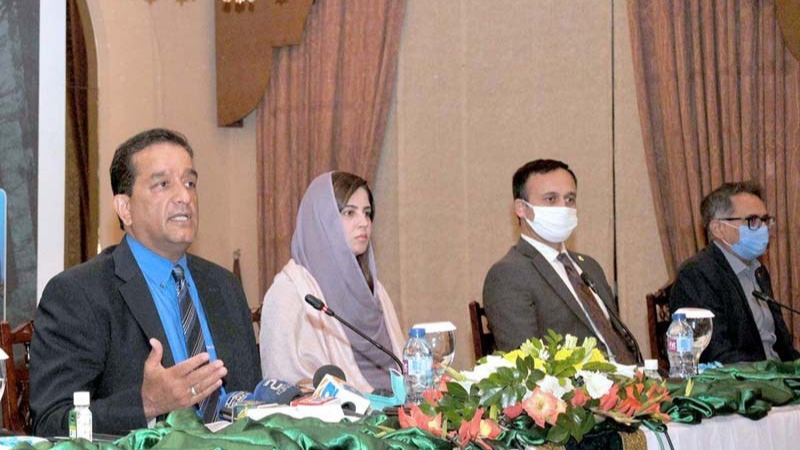 SAPM on Climate Change Amin Aslam and Minister for Climate Change Zartaj Gul address the media at the launching ceremony of the 'Third Party Monitoring of Ten Billion Tree Tsunami Programme'. — APP