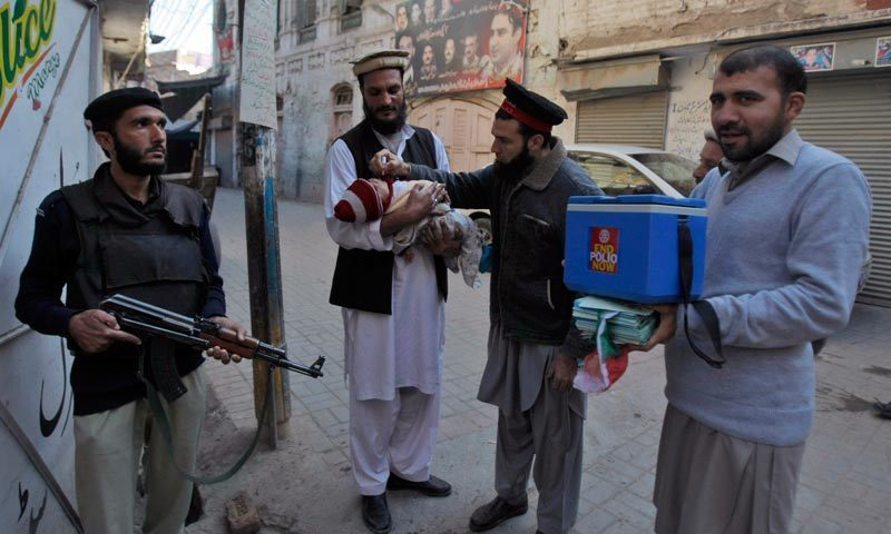 The recovered polio workers were identified as Sher Ali, Abdul Khaliq, Qurban Ali, Karam Khan and Humayun Khan. —File photo
