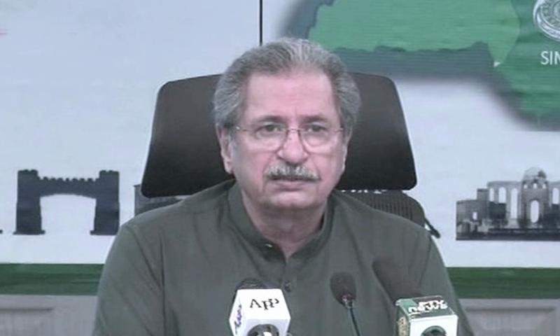 Federal education minister Shafqat Mahmood addresses a media briefing in Islamabad on Tuesday. — DawnNewsTV