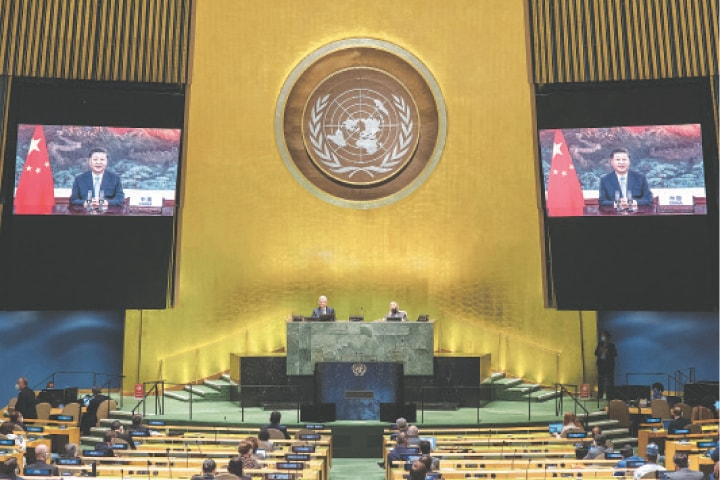 CHINESE President Xi Jinping addresses the UN General Assembly.—Reuters