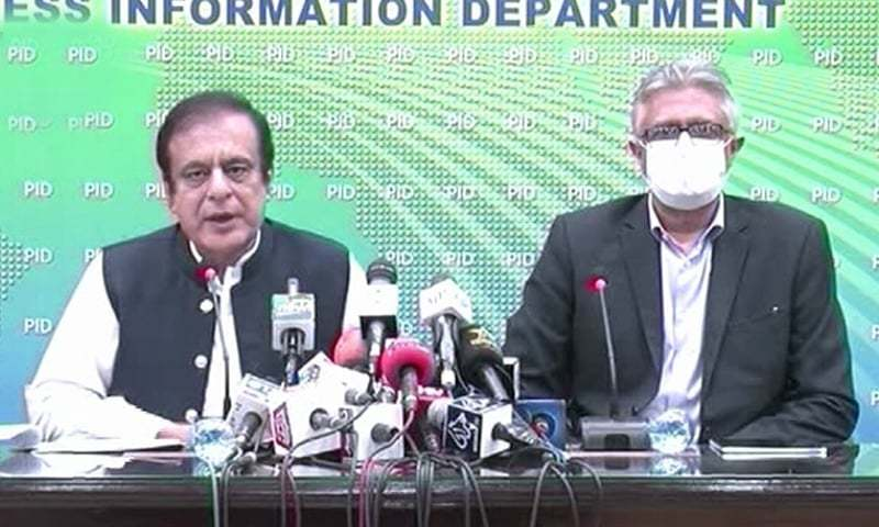 Information Minister Shibli Faraz and SAPM on Health Dr Faisal Sultan address a press conference in Islamabad on Tuesday. — DawnNewsTv