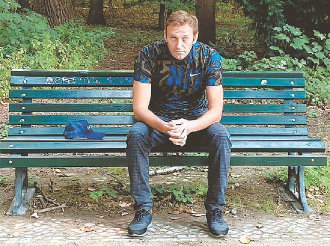 BERLIN: This handout picture posted on Instagram  shows Alexei Navalny sitting on a bench in Berlin.—AFP