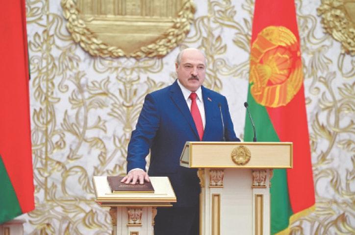 MINSK: Alexander Lukashenko takes the oath of office as Belarusian President.—Reuters