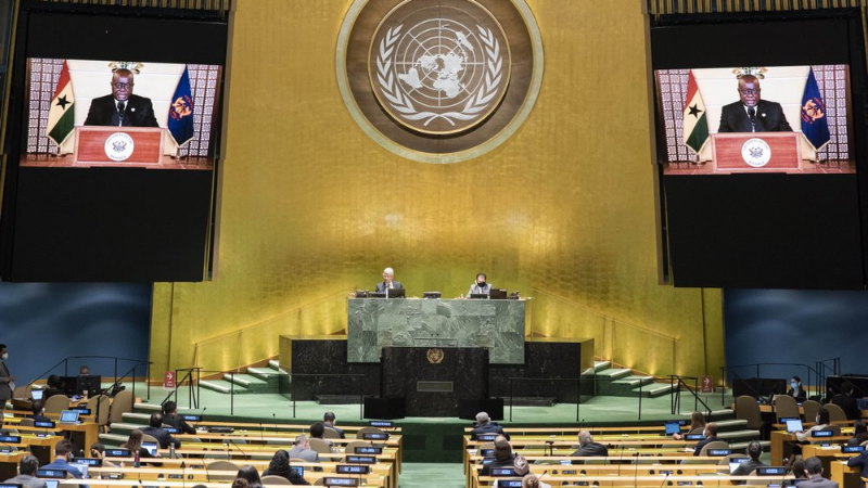 The pre-recorded message of Ghana President Nana Akufo-Addo is played during the 75th session of the United Nations General Assembly on Wednesday. — AP
