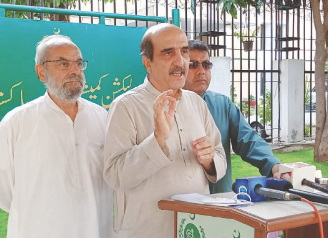 FOUNDING member of PTI Akbar S. Babar talking to media personnel after the hearing on Thursday.— Online