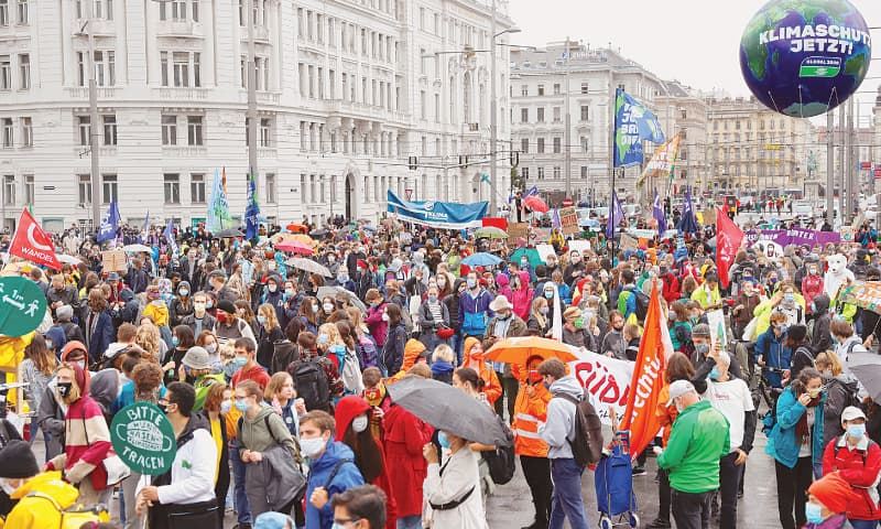 """Vienna: Activists protesting under the banner of Fridays for Future group call for a """"global day of climate action"""".—Reuters"""