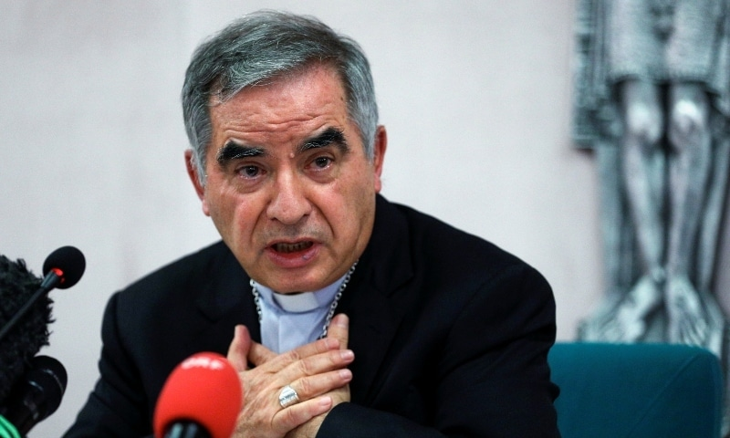 Cardinal Giovanni Angelo Becciu, who has been caught up in a real estate scandal, speaks to the media a day after he resigned suddenly and gave up his right to take part in an eventual conclave to elect a pope, near the Vatican, in Rome on September 25. — Reuters