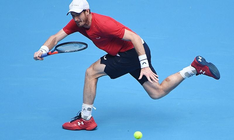 In this file photo, Andy Murray of Britain hits a return during his men's singles second round match against Cameron Norrie of Britain at the China Open tennis tournament in Beijing on October 2. — AFP/File