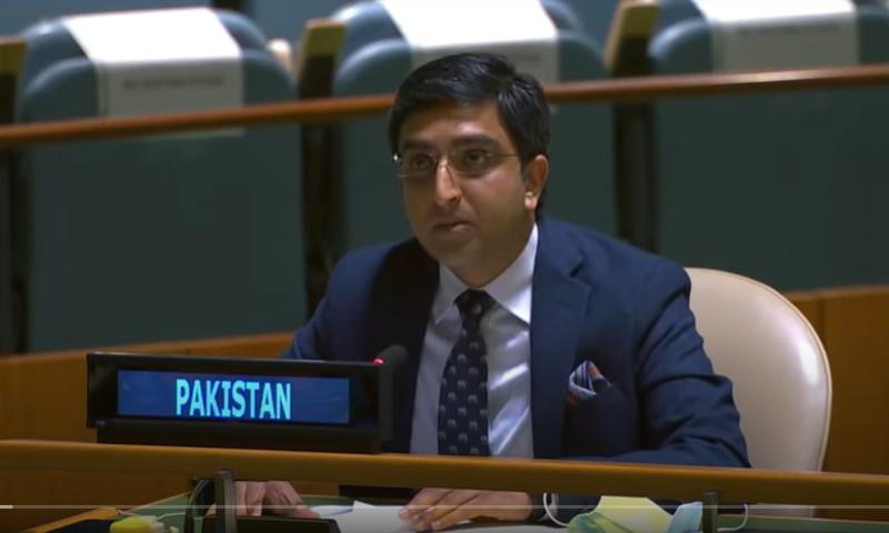 اقوام متحدہ کی جنرل اسمبلی میں پاکستان کے نمائندہ ذوالقرنین چیمہ - فوٹو:اقوام متحدہ
