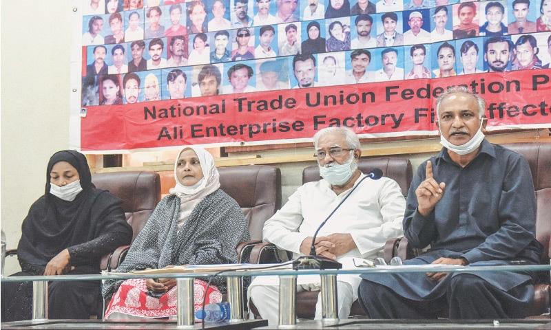 SENIOR trade unionist Nasir Mansoor speaks at the press club on Saturday. — White Star