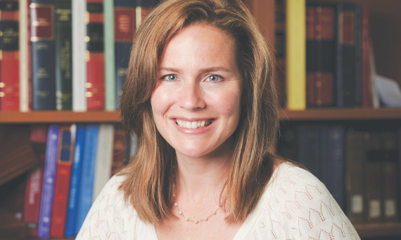 Amy Coney Barrett would be the youngest justice on the court. — AFP