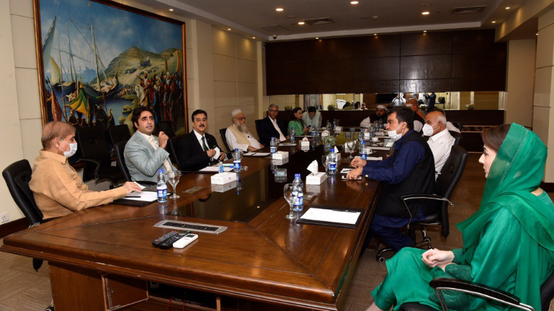 Opposition leaders, including PPP and PML-N chiefs Bilawal Bhutto Zardari and Shahbaz Sharif, meet in Islamabad for the multiparty conference on Sept 24. — PML-N Twitter