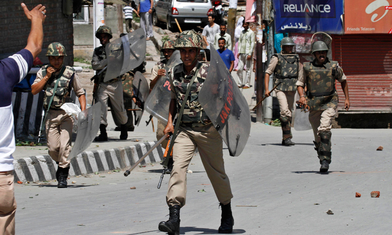 In this file photo, Indian paramilitary soldiers arrive during a protest in Srinagar. — Reuters
