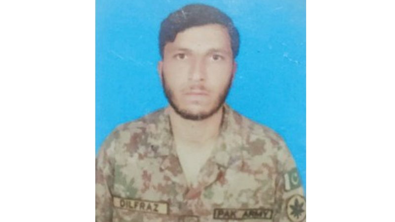 A picture of Naik Dilfraz, who was martyred during an exchange of fire with Indian forces along the Line of Control. — ISPR