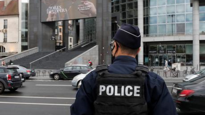 A French policeman stands near the Opera Bastille where the suspect was arrested.