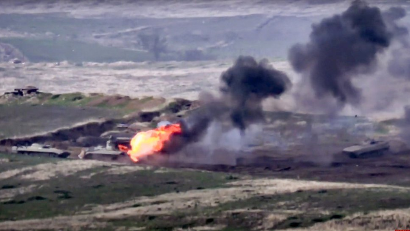In this image taken from footage released by Armenian Defence Ministry on Sept 27, Armenian forces destroy Azerbaijani military vehicle at the contact line of the self-proclaimed Republic of Nagorno-Karabakh, Azerbaijan. — AP