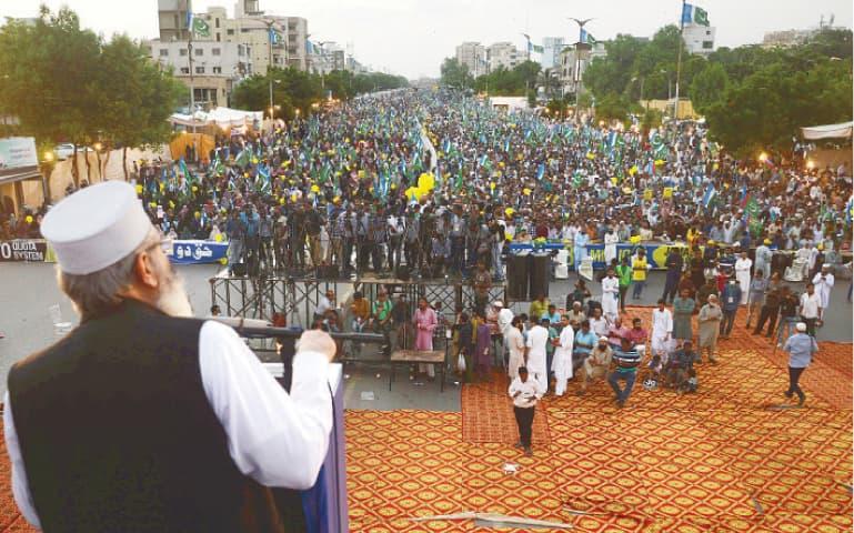 JI chief Senator Sirajul Haq speaks at the rally on Sunday.—Shakil Adil / White Star