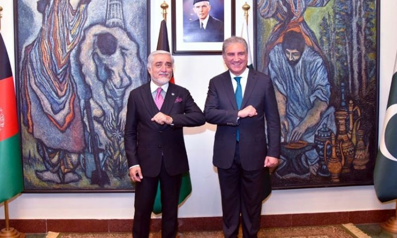 Chairman of Afghanistan's High Council for National Reconciliation Dr Abdullah Abdullah meets FM Shah Mehmood Qureshi at the Foreign Office on Monday. — Photo: FO