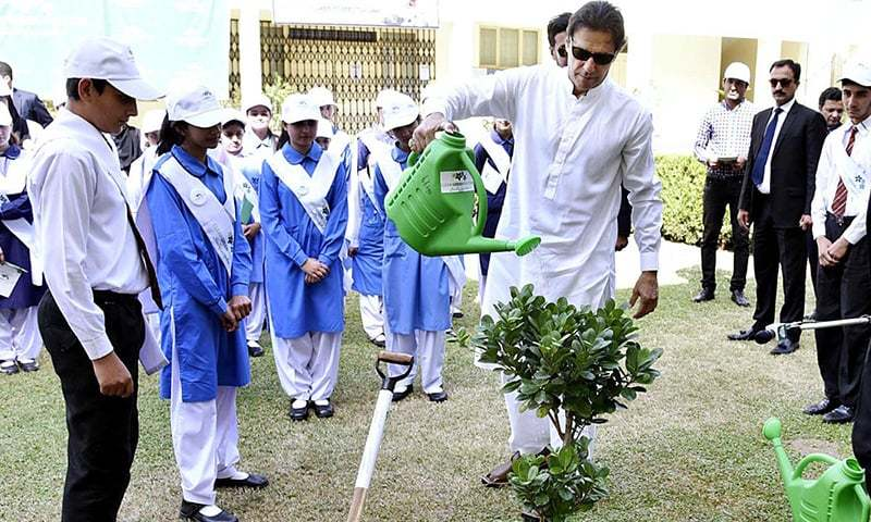 In this file photo, Prime Minister Imran Khan waters a tree planted at the kick-off of 'Clean and Green Pakistan'. — APP/File