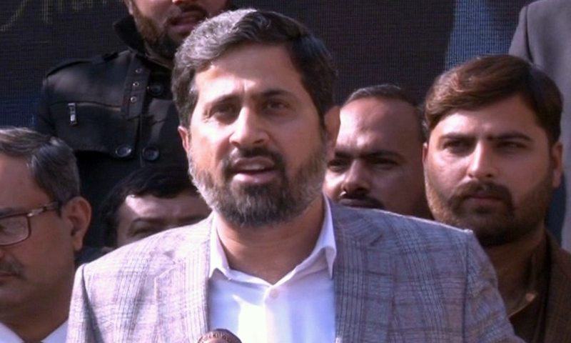 In this 2019 file photo, Punjab Information Minister Fayyazul Hassan Chohan addresses the media in Lahore. — DawnNewsTV/File