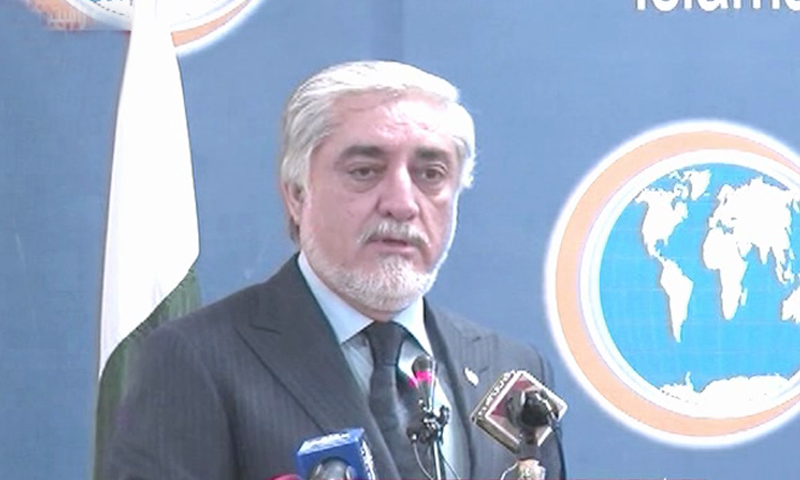 Chairman of Afghanistan's High Council for National Reconciliation Dr Abdullah Abdullah addresses the Institute of Strategic Studies in Islamabad on Tuesday. — DawnNewsTV