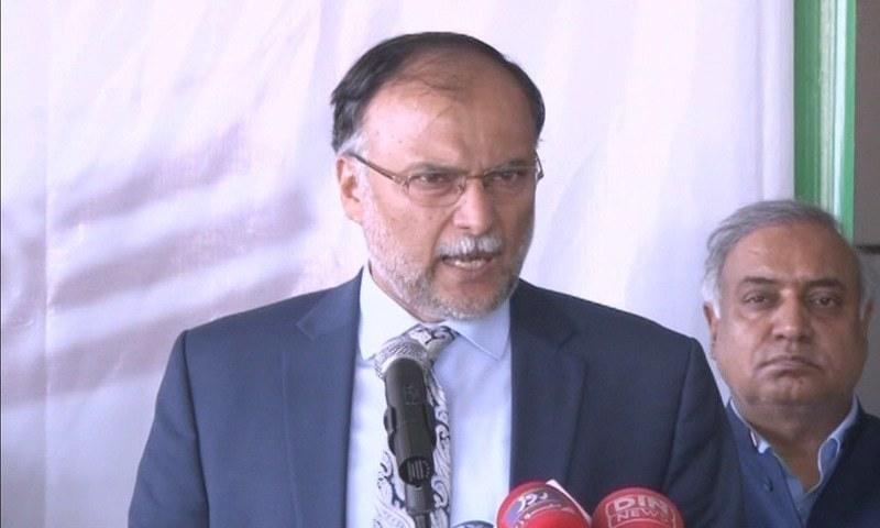 In this file photo, PML-N General Secretary Ahsan Iqbal speaks to reporters in Lahore. ─ DawnNewsTV