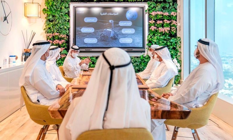In this photo made available from the Twitter of UAE Vice President Sheikh Mohammed bin Rashid Al-Maktoum, one of the Emirati officials explains to him about the moon mission, Tuesday, Sept 29, 2020, in Dubai. — AP