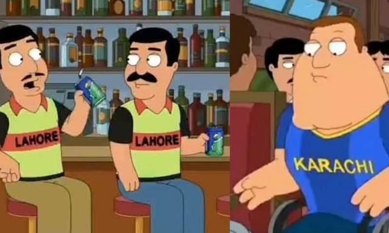 اینیمیٹڈ کامیڈی شو 'فیملی گائے' کے 19 ویں سیزن کے آغاز میں  پاکستانی کرکٹ شائقین کا حوالہ دیا گیا— فوٹو: اسکرین شاٹ