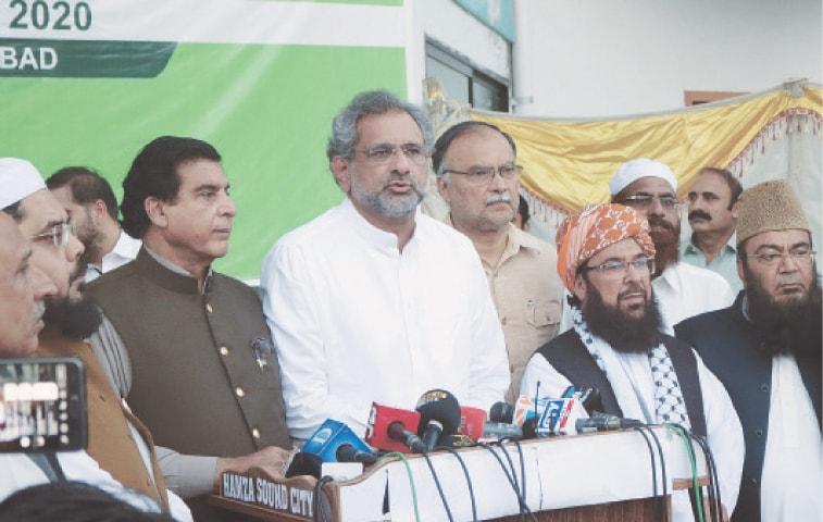 OPPOSITION leaders Shahid Khaqan Abbasi, Raja Pervez Ashraf, Senator Ghafoor Haideri, Ahsan Iqbal, Owais Noorani and others pictured at the press conference. —Tanveer Shahzad / White Star