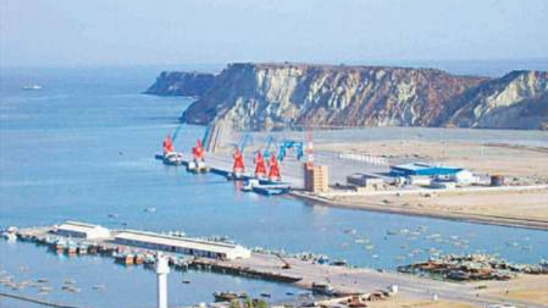 This file photo shows a view of Gwadar port. For the development and prosperity of the region only one per cent income tax is levied.