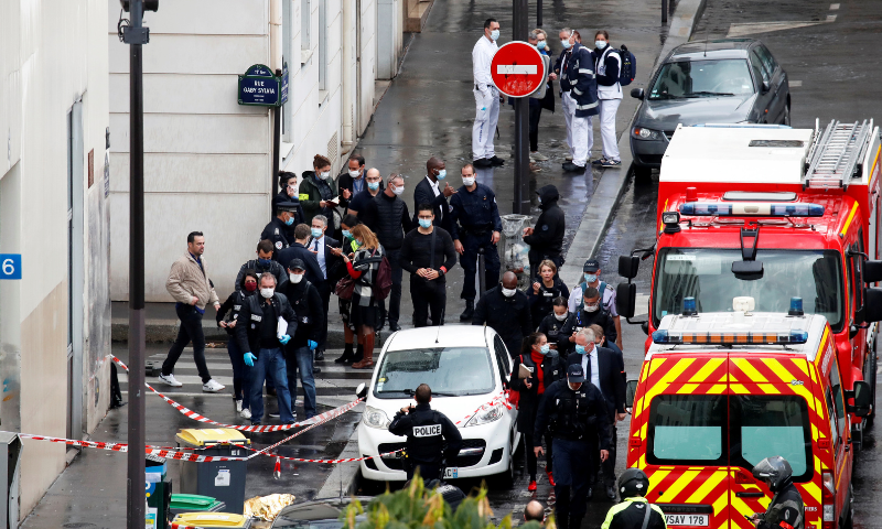 Terrorism charges filed in stabbings near French newspaper