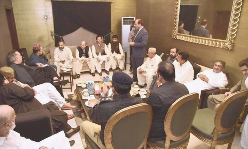 SINDH Governor Imran Ismail listens to a delegation in Shikarpur on Wednesday.—Dawn