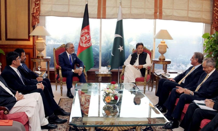 Prime Minister Imran Khan meets the chairman of Afghanistan's Council for High Reconciliation, Dr Abdullah Abdullah. — Photo courtesy Tolo News Twitter