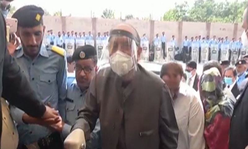 In this file photo, former president Asif Ali Zardari is pictured outside an accountability court for a hearing in the mega money laundering case. — DawnNewsTV