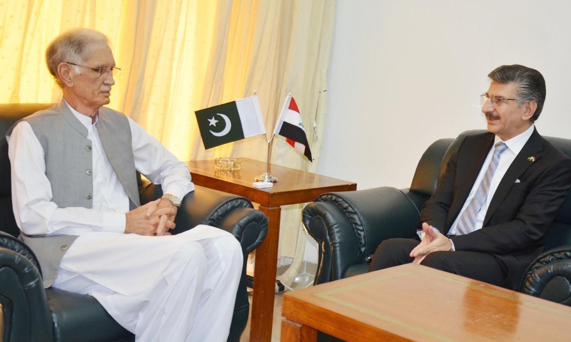 Iraqi envoy Hamid Abbas Lafta called on Minister for Defence Pervez Khattak in Islamabad on September 30. — Photo courtesy Radio Pakistan.