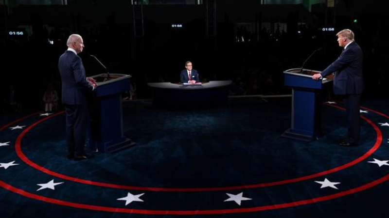 US President Donald Trump and Democratic presidential nominee Joe Biden participate in the first 2020 presidential campaign debate held on the campus of the Cleveland Clinic at Case Western Reserve University in Cleveland, Ohio, on Sept 29. — Reuters