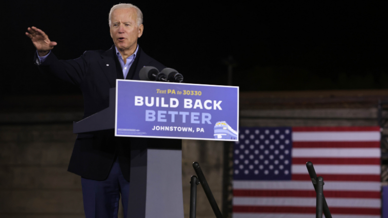 Democratic US presidential nominee Joe Biden speaks during a campaign stop outside Johnstown Train Station on Sept 30, 2020 in Johnstown, Pennsylvania. — AFP