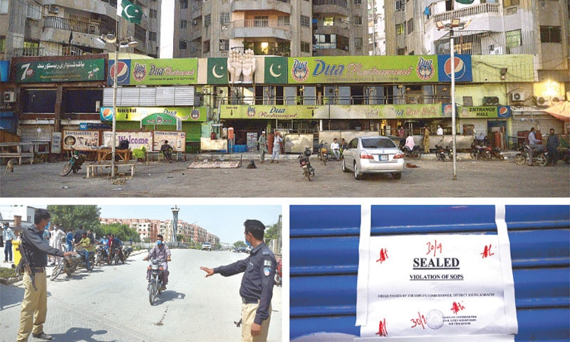 (CLOCKWISE) Several eateries in the Clifton locality are sealed over violation of the SOPs prescribed by Sindh government; the notice affixed on one such outlet; and police personnel manning the entry to a locked-down locality in Manghopir on Thursday. — Photos by Shakil Adil/White Star and agencies