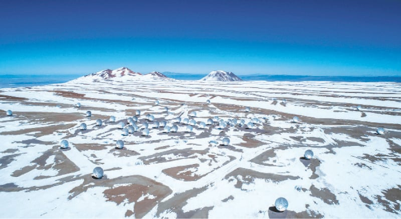 Chajnantor: A picture released by the European Southern Observatory of the Atacama Large Millimetre Array (ALMA) project in Chile's Atacama desert. The ALMA radio telescope, which with its 66 antennas is the most advanced in the world, enabled astronomers to discover the six giant galaxies entangled in the black hole's web.—AFP