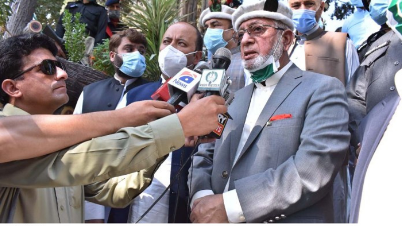 In this Aug 2020 file photo, Caretaker Gilgit-Baltistan Chief Minister Mir Afzal speaks to the media after a flag-hoisting ceremony at Yaadgar-i-Shuhada on Independence Day.  — APP