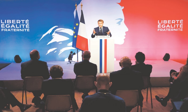 PRESIDENT Emmanuel Macron delivering his speech that described his plan aimed at fighting  'Islamist separatism'.—AFP