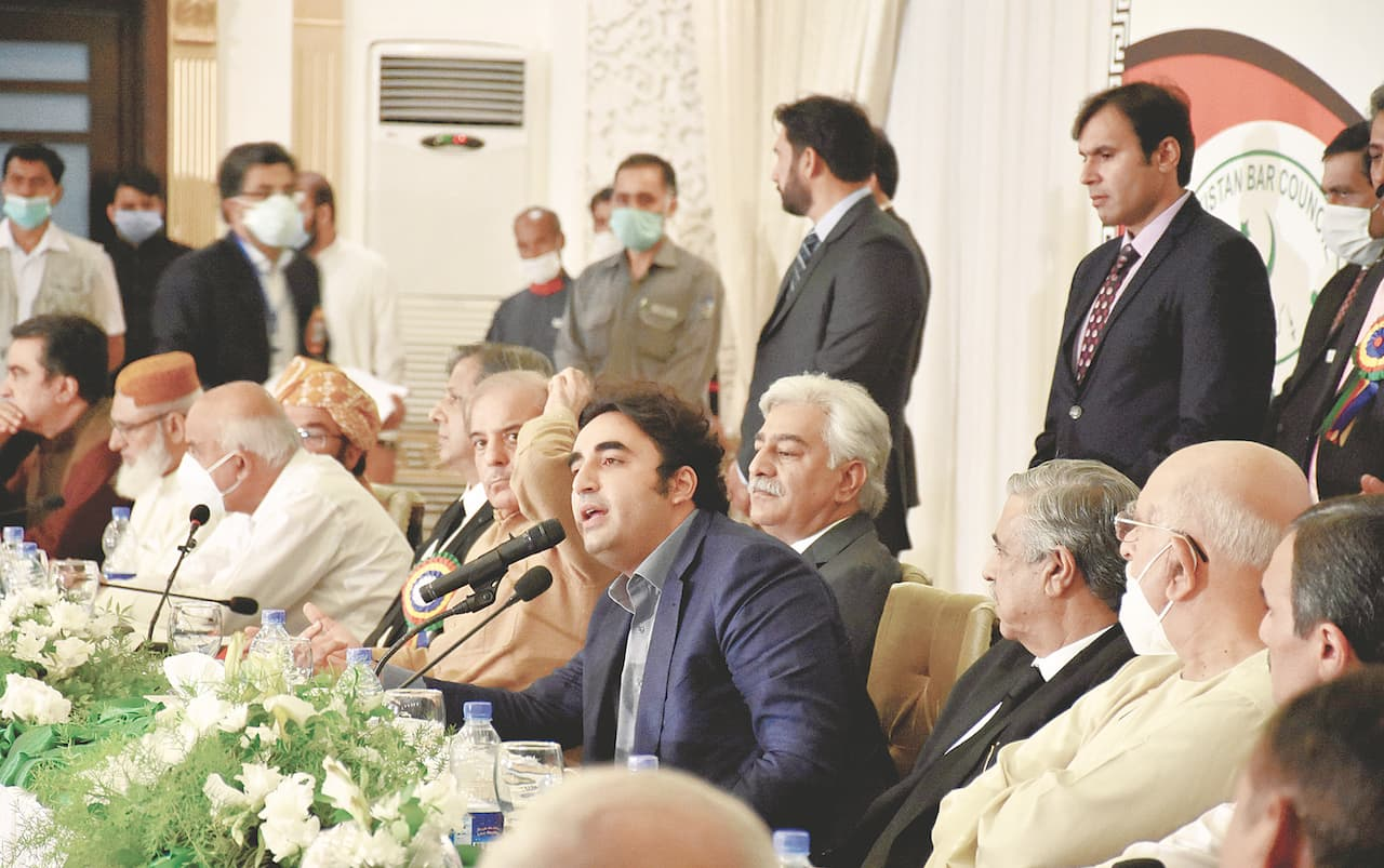 Opposition leaders including Shehbaz Sharif and Bilawal Bhutto-Zardari at an All Parties Conference on  September 17 | Tanveer Shahzad/White Star