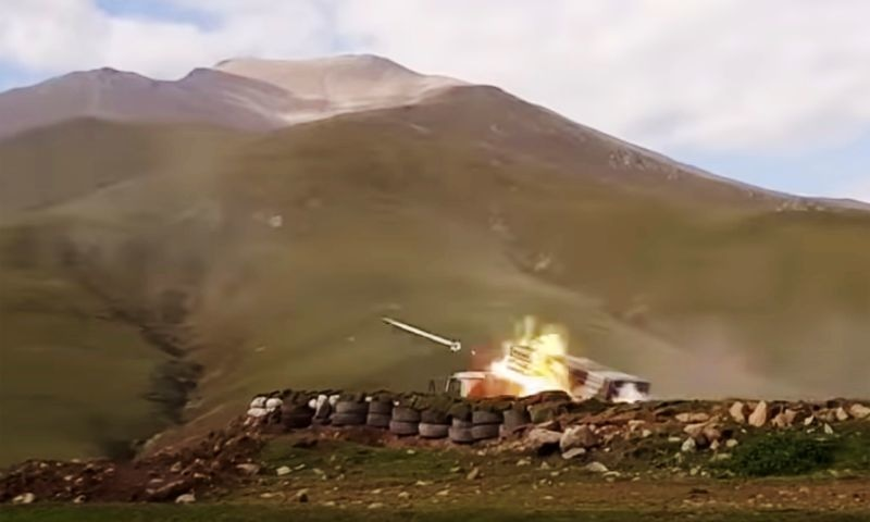 In this handout photo taken from video released by Azerbaijan's Defence Ministry on Saturday, an Azerbaijan army's multiple rocket launcher fires during fighting with forces of the self-proclaimed Republic of Nagorno-Karabakh, Azerbaijan. — Azerbaijan's Defence Ministry via AP